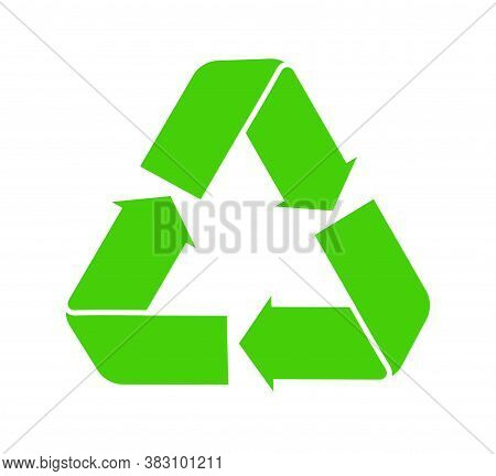 Icon Of Recycle. Green Symbol Of Reuse. Logo With Arrow For Eco Cycle Renew Of Junk. Sign For Paper