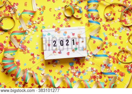 2021 New Year Celebration Flat Lay Concept With Confetti And Streamers