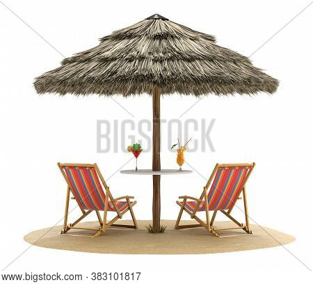 Beach Chairs And Umbrella With Cocktail Drinks - 3d Illustration