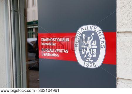 Bordeaux , Aquitaine / France - 08 25 2020 : Bureau Veritas Logo And Sign Of International Certifica