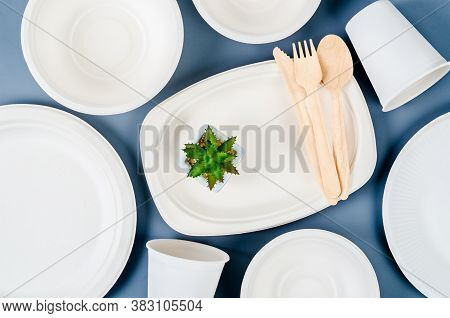 Nature Kitchenware Made From Bagasse For Food On Blue Background. Eco Friendly Concept.