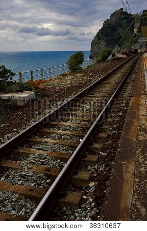 the stairs and the railway in village of corniglia in the north of italyliguria poster
