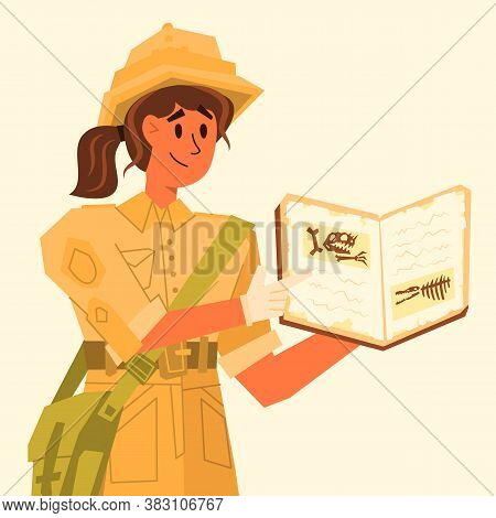 Girl In Uniform Shows A Book With A Photo, Vector Illustration. An Archaeologist Talks About His Fin