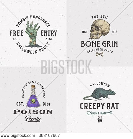 Vintage Style Halloween Logos Or Labels Template Set. Hand Drawn Scull, Zombie Arm, Poison Flask And