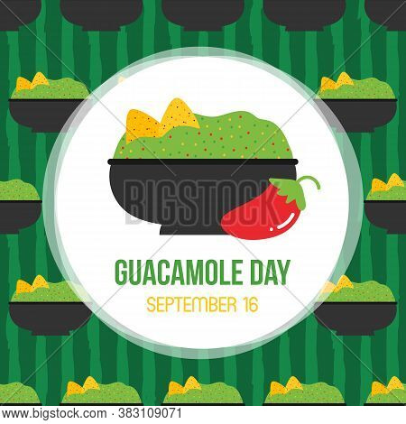 Guacamole Day Vector Card, Illustration With Cute Cartoon Guacamole Dip Striped Seamless Pattern Bac