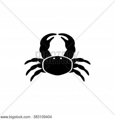 Sea Or Ocean Crab, Marine Exotic Seafood. Flat Vector Icon Illustration. Simple Black Symbol On Whit
