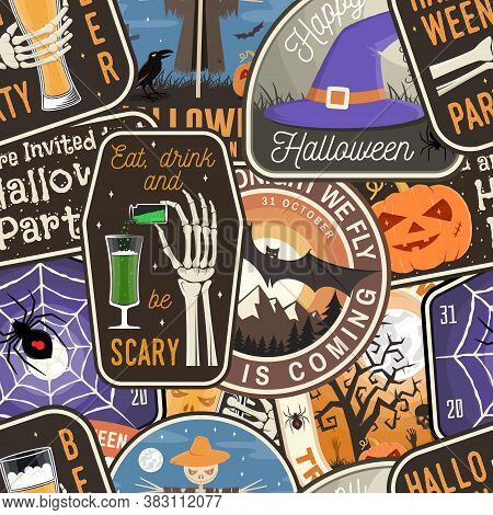 Halloween Patches Colorful Seamless Pattern With Scarecrow With Raven, Pumpkin, Skeleton Hand, Cemet