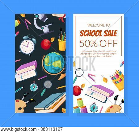 School Sale Special Offer Flyer Template With School Supplies Seamless Pattern, Leaflet, Menu, Coupo