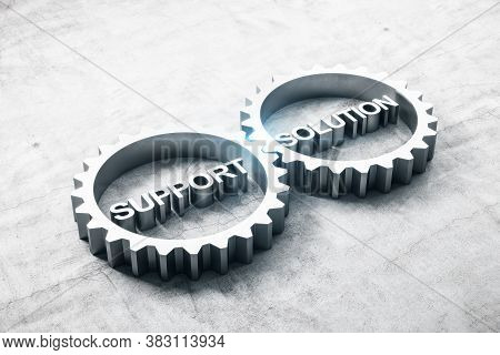 Two Metal Gears With Text Support And Solution On Concrete Table. Business And Teamwork Concept. 3d
