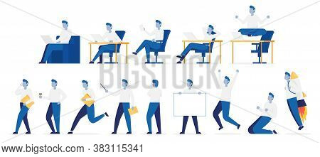 Set Of Poses Businessman With Different Emotions And Expressions. Side And Front View. Color Vector
