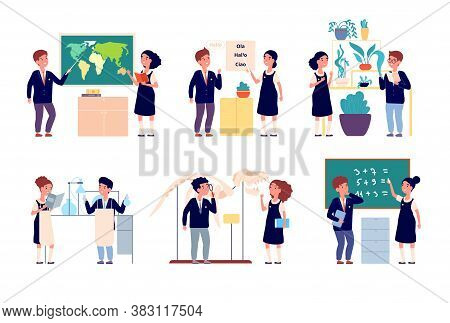 Kids School Lesson. Children Study, Boy Girl In Uniform. Happy Smart Students, Cartoon Chemistry Exp