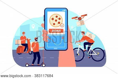 Online Food Delivery. Restaurant Order Service, Goods From Supermarket. Quick Courier On Bike, Meal