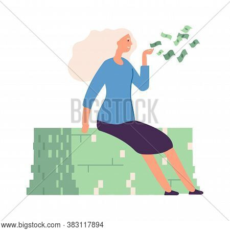 Woman Sharing Money. Flying Cash, Rich Girl Donating. Isolated Wealthy Businesswoman, Job Success Or