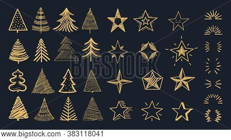 Christmas Decorations Pack. Doodle Xmas Tree, Stars And Burst. Decorative Holiday New Year Vector Ca