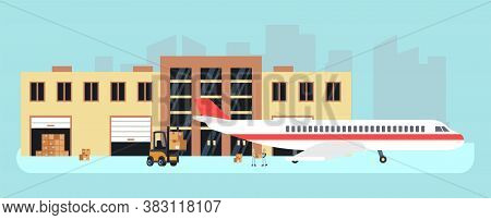 Delivery By Plane. Cargo Aircraft, Loading For Transportation. Stock Or Airport Warehouse, Air Logis