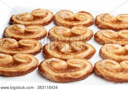 Flaky  Pastry Hearts Glazed With Caramelized Sugar