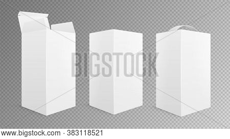 Realistic Box Mockup. Open Closed Package, Take Away Pack With Handle. Isolated White Empty Cardboar