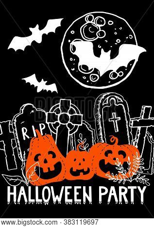 Halloween Party Vertical Poster. Smiling Spooky Orange Pumpkins. Cemetery With Headstone Gravestone
