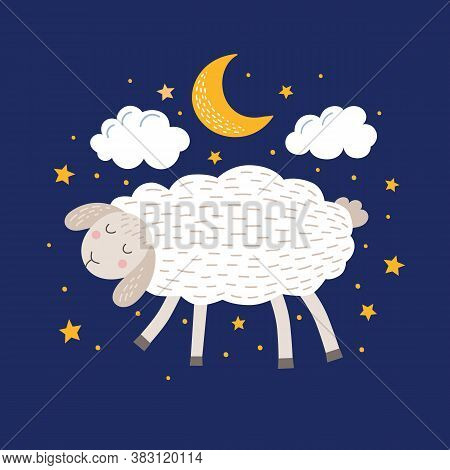 Cute Sleeping Sheep In The Night Sky Vector Illustration. Funny Fluffy Lamb. Cartoon Pet In The Clou