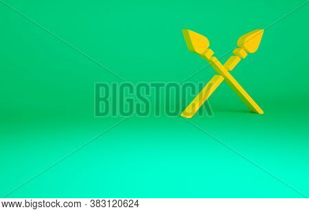 Orange Crossed Medieval Spears Icon Isolated On Green Background. Medieval Weapon. Minimalism Concep