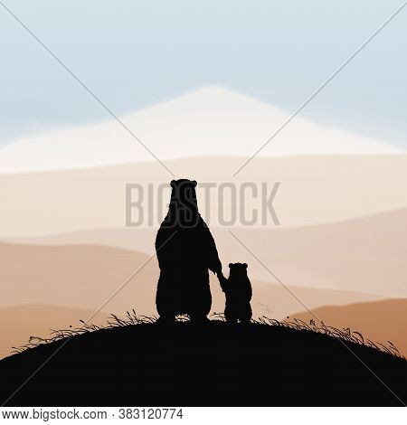 Mom Bear And Baby Holding Hands. Animal Family Silhouette On Grassy Hill In Autumn. Background With