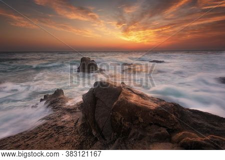 Seascape During Sunrise. Beautiful Natural Seascape. Sea Sunrise At The Black Sea Coast. Magnificent