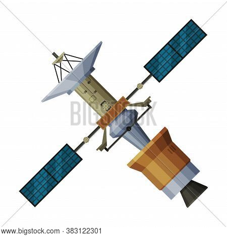 Artificial Space Satellite, Cosmos Exploration, Astronautics And Space Technology Theme Flat Vector