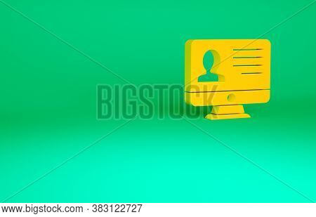 Orange Computer Monitor With Resume Icon Isolated On Green Background. Cv Application. Searching Pro