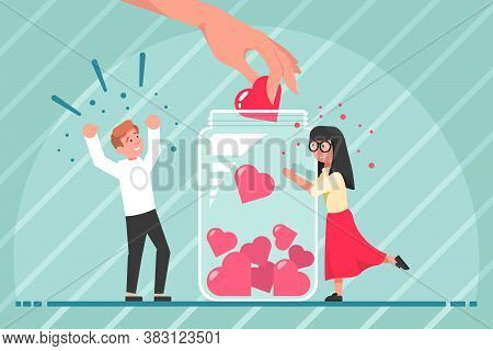 Volunteering, Generosity, Investment, Help Concept. Young Man And Woman Boy Girl Volunteers Putting