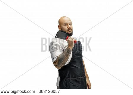 Portrait Of A Male Chef Cook, Butcher Isolated On A White Studio Background. Concept Of Professional
