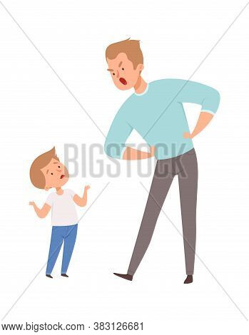 Father And Son Argue. Isolated Angry Man And Cute Boy. Family Quarrel, Dad Punish Son Vector Illustr