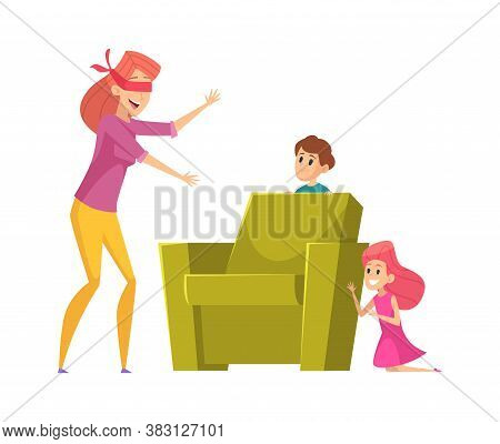 Mother Playing With Kids. Happy Family Time, Peekaboo Game. Mom Finding Children Vector Illustration