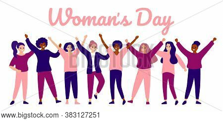 Happy Group Female Of Different Ethnicity. International Womens Day. Women Empowerment Movement. Vec
