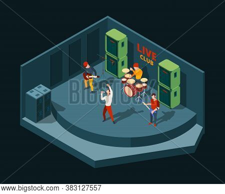 Rock Concert. Music Band Promotion On Public Festival Stage Spectator Vector People Action Poses. St