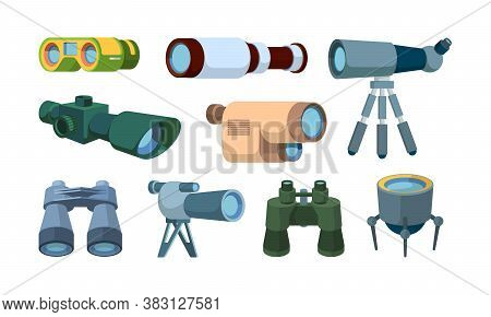 Optical Telescope. Binoculars For Travellers Looking Items Exploration Tools Vector Collection. Illu