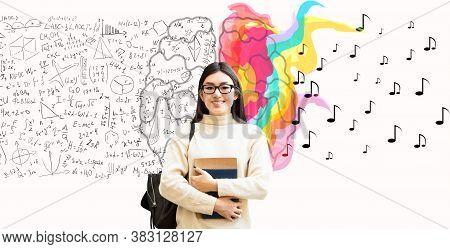 Brainwork, Creativity Vs Logic. Asian Student Girl Holding Books Posing Over White Background. Colla