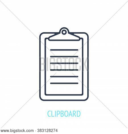 Clipboard With A Clip At Top. Outline Icon. Vector Illustration. Tablet For Holding Paper Documents