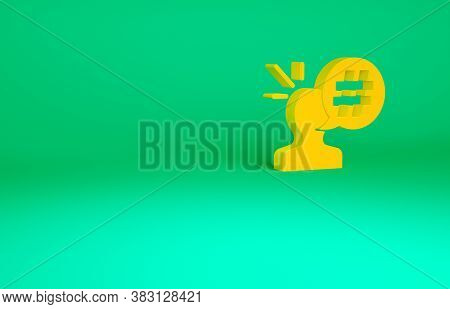 Orange Protest Icon Isolated On Green Background. Meeting, Protester, Picket, Speech, Banner, Protes