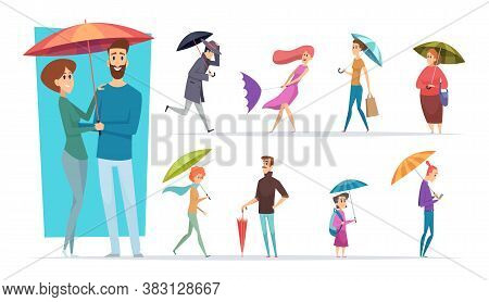 People With Umbrella. Raining Day Walking Adults Male And Female Holding Umbrella In Hands Vector Ch
