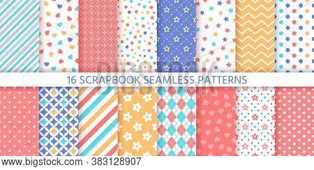 Scrapbook Seamless Pattern. Vector. Cute Backgrounds. Set Prints With Polka Dot, Heart, Flower, Star