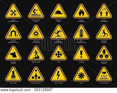 Yellow Warning Symbols. Triangle Signs With Danger Symbols Attention Camera Electrical Hazard Vector