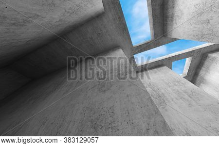 Abstract Concrete Interior Background, Wide Angle View With Blank Gray Walls And Rectangular Skyligh