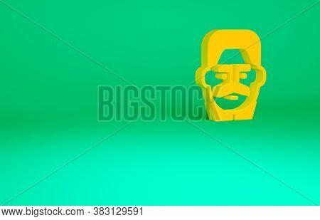 Orange Portrait Of Joseph Stalin Icon Isolated On Green Background. Minimalism Concept. 3d Illustrat