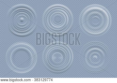 Water Circles. Realistic Round Shapes Of Liquids Top View Waves Vector Template. Liquid Effect Rippl