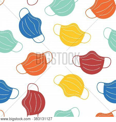Face Masks Seamless Vector Background. Coronavirus Pandemic Related Design. Repeating Pattern With C