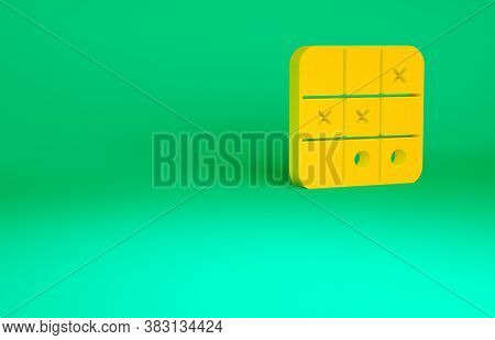 Orange Tic Tac Toe Game Icon Isolated On Green Background. Minimalism Concept. 3d Illustration 3d Re