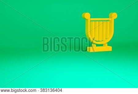 Orange Ancient Greek Lyre Icon Isolated On Green Background. Classical Music Instrument, Orhestra St