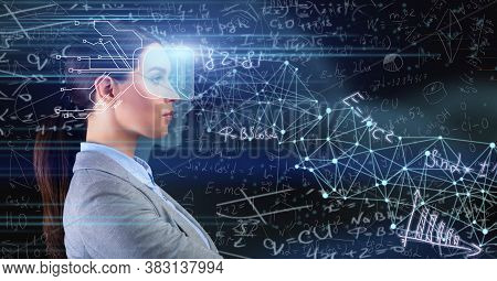 Lady With Implanted Chip Learning Standing Over Blue Background With Scientific Formulas. Collage, P