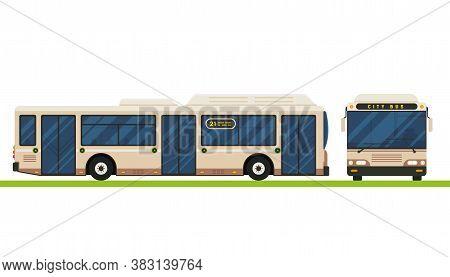 Modern Bus Vector Flat Design. Public Transport Vehicle, City Transit Short Distance Bus, Front And