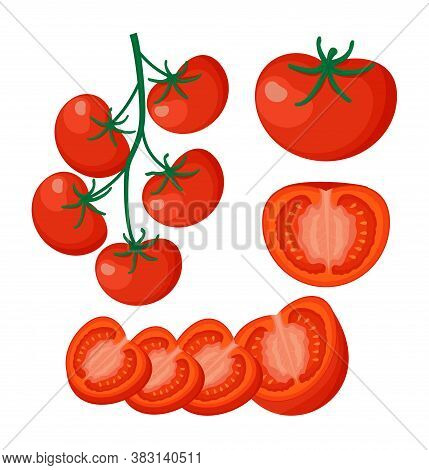 Collection Of Fresh Red Tomatoes Vector Illustrations. Half A Tomato, A Slice Of Tomato, Cherry Toma